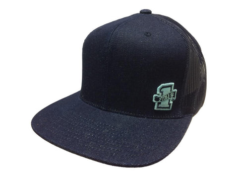 "Shop Mitchell & Ness ""Still #1"" Dark Denim Mesh Adjustable Snapback Flat Bill Hat Cap"