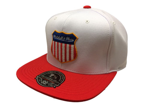 Shop Mitchell & Ness White Red & Blue Hi Crown Fitted Flat Bill Hat Cap (7 3/8)