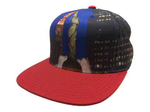 Mitchell & Ness City Scape Blue & Red Adjustable Snapback Flat Bill Hat Cap