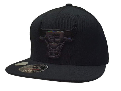 Shop Chicago Bulls Mitchell & Ness Black Chameleon Logo Fitted Flat Bill Hat (7 3/8)