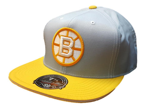 Boston Bruins Mitchell & Ness Gray Yellow Hi Crown Fitted Flat Bill Hat (7 3/8)