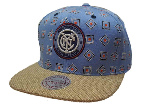New York City FC Mitchell & Ness Blue Square Pattern Flat Bill Snapback Hat