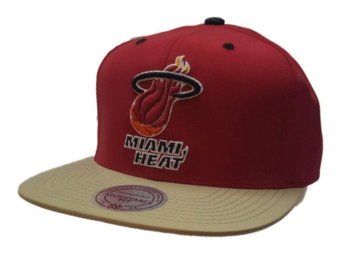 Shop Miami Heat Mitchell & Ness Gray Fitted Flat Bill Hardwood Classics Hat (7 3/8) - Sporting Up