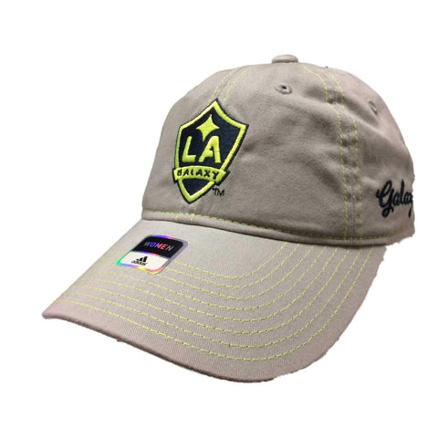 Shop Los Angeles Galaxy Adidas Neon Logo Adj. Slouch Strapback Baseball Hat Cap - Sporting Up