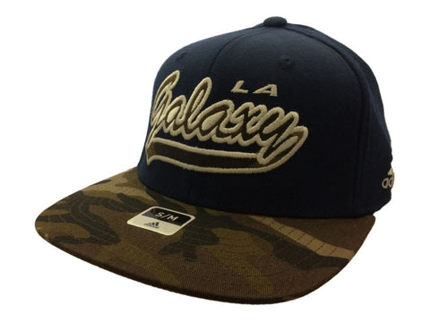 Shop Los Angeles Galaxy Adidas FitMax 70 Navy Camo Structured Flat Bill Hat (S/M)