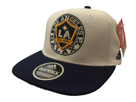 Shop Los Angeles Galaxy Adidas White Navy Adjustable Structured Snapback Hat Cap