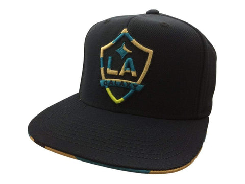 Shop Los Angeles Galaxy Adidas Navy Neon Structured Flat Bill Snapback Hat Cap