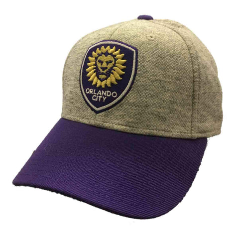 Shop Orlando City SC Adidas Gray and Purple Fitted Structured Baseball Hat Cap