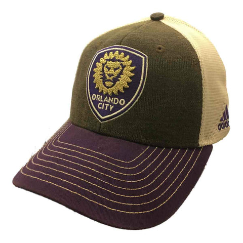 Shop Orlando City SC Adidas Brown Purple Mesh Structured Snapback Baseball Hat Cap