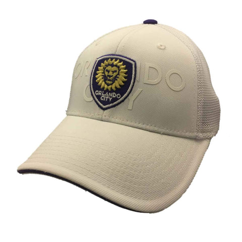 Shop Orlando City SC Adidas FitMax 70 White Structured Fitted Baseball Hat Cap (S/M) - Sporting Up