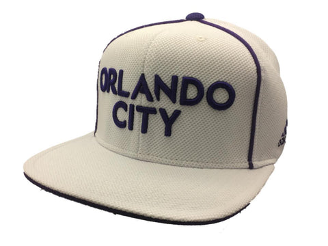 Shop Orlando City SC Adidas White Textured Adj Structured Flat Bill Snapback Hat Cap - Sporting Up