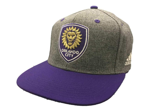 Shop Orlando City SC Adidas Gray Purple Structured Fitted Flat Bill Snapback Hat Cap