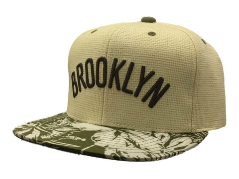 Shop Brooklyn Nets Mitchell & Ness Ivory & Green Floral Strapback Flat Bill Hat Cap