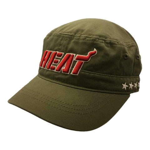 Shop Miami Heat Adidas WOMENS Olive Green Adj Relaxed Snapback Cadet Hat Cap