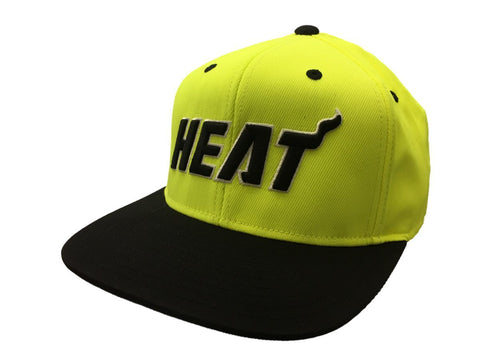 Shop Miami Heat Adidas Neon Yellow Adjustable Structured Snapback Flat Bill Hat Cap - Sporting Up