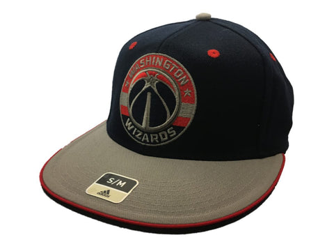 Washington Wizards Adidas SuperFlex Navy Fitted Rounded Flat Bill Hat Cap (S/M) - Sporting Up