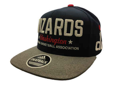 Washington Wizards Adidas Navy Gray Adj Structured Snapback Flat Bill Hat Cap - Sporting Up