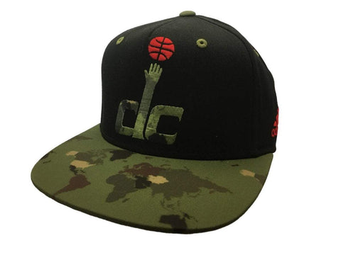 Shop Washington Wizards Adidas Black Camo Adj Structured Snapback Flat Bill Hat Cap - Sporting Up