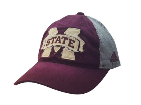 Mississippi State Bulldogs Adidas Faded Maroon Mesh Snapback Baseball Hat Cap