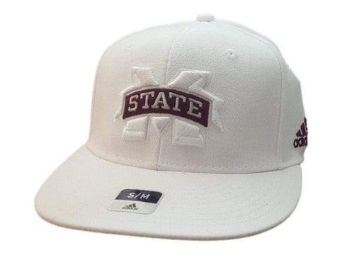 Mississippi State Bulldogs Adidas SuperFlex White Rounded Flat Bill Hat Cap(S/M)