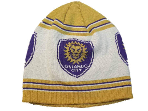 Orlando City SC Adidas Off-White Gold Striped Acrylic Knit Skull Beanie Hat Cap