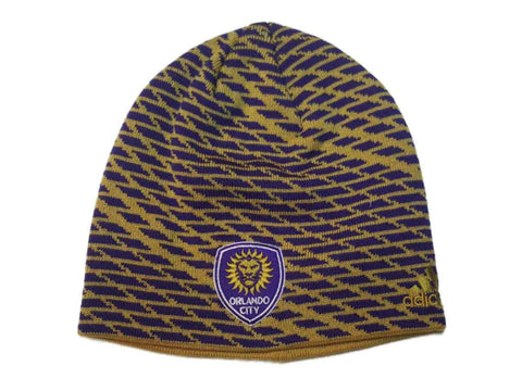 Shop Orlando City SC Adidas Gold & Purple Patterned Acrylic Knit Skull Beanie Hat Cap