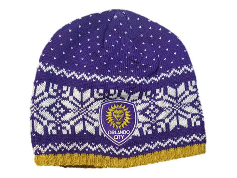 Shop Orlando City SC Adidas Purple Snowflake Pattern Acrylic Knit Beanie Hat Cap - Sporting Up
