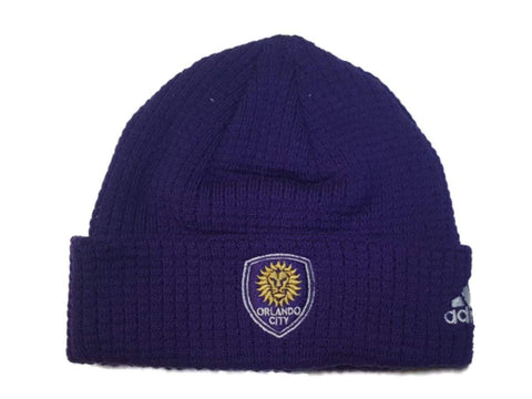 Shop Orlando City SC Adidas YOUTH Purple Acrylic Knit Cuffed Skull Beanie Hat Cap