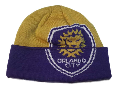 Shop Orlando City SC Adidas Gold & Purple Acrylic Knit Cuffed Skull Beanie Hat Cap - Sporting Up