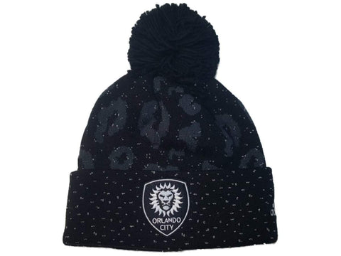 Shop Orlando City SC Adidas Black Leopard Print Acrylic Cuffed Beanie Hat Cap w Poof - Sporting Up