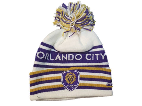 Shop Orlando City SC Adidas White Striped Acrylic Knit Cuffed Beanie Hat Cap w Poof