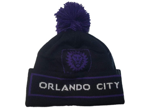 Orlando City SC Adidas Black Purple Acrylic Knit Cuffed Beanie Hat Cap with Poof