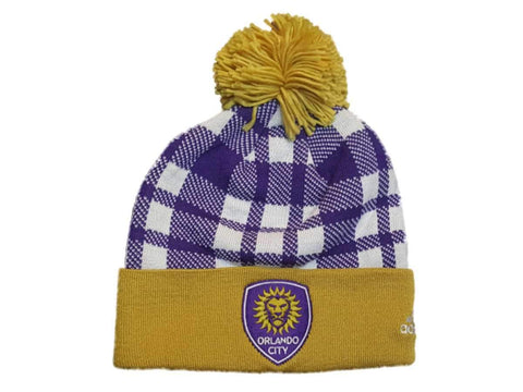 Orlando City SC Adidas Purple Plaid Acrylic Cuffed Beanie Hat Cap with Poof Ball