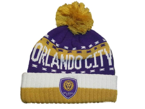 Shop Orlando City SC Adidas Team Color Thick Knit Cuffed Beanie Hat Cap with Poof