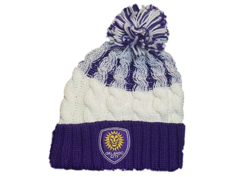 Orlando City SC Adidas White Purple Thick Knit Cuffed Beanie Hat Cap with Poof