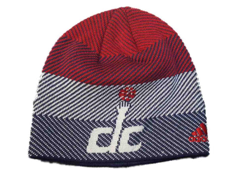 Washington Wizards Adidas Team Color Stripe Pattern Acrylic Knit Beanie Hat Cap
