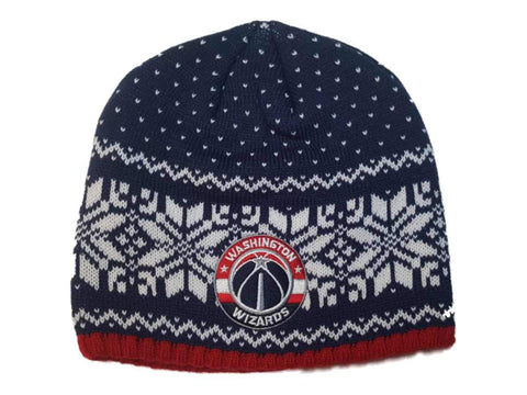 Washington Wizards Adidas Snowflake Pattern Thick Knit Skull Beanie Hat Cap - Sporting Up