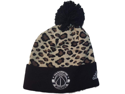 Washington Wizards Adidas Leopard Print Acrylic Knit Cuffed Beanie Hat Cap Poof