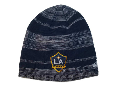Los Angeles Galaxy Adidas Navy White Stripe Acrylic Knit Skull Beanie Hat Cap