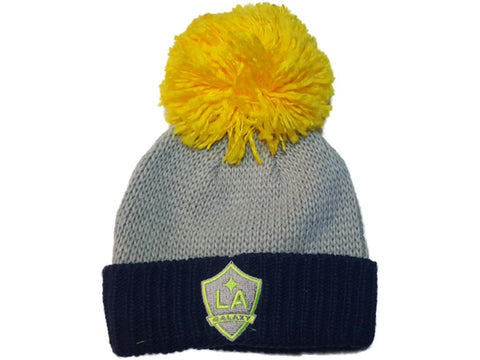 Shop Los Angeles Galaxy Adidas Gray Thick Knit Cuffed Beanie Hat Cap Oversized Poof - Sporting Up