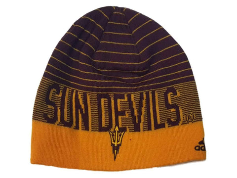 Shop Arizona State Sun Devils Adidas Striped Acrylic Knit Skull Beanie Hat Cap