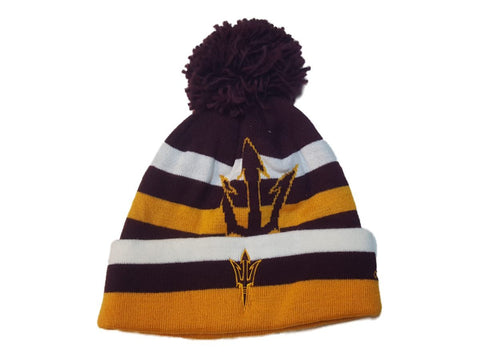 Shop Arizona State Sun Devils Adidas Striped Acrylic Knit Cuffed Beanie Hat Cap Poof
