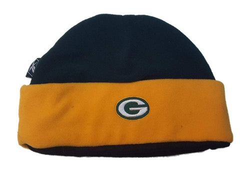 Green Bay Packers Reebok YOUTH Boy's Green Yellow Cuffed Skull Beanie Hat Cap