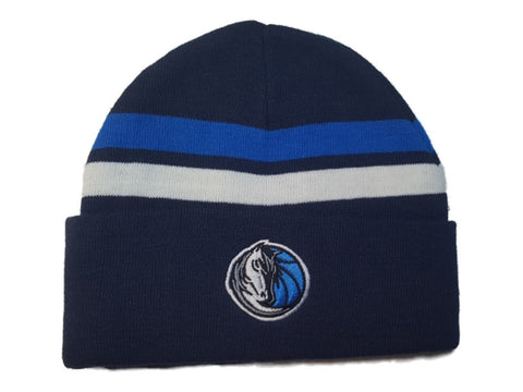 Shop Dallas Mavericks Navy Blue with Stripes Acrylic Knit Cuffed Skull Beanie Hat Cap - Sporting Up