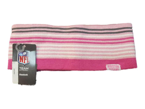 Houston Texans Reebok WOMENS Pink Striped Acrylic Knit Ear Muff Ear Warmers