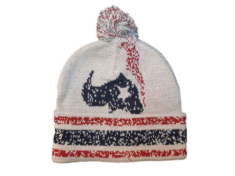 Houston Texans Reebok YOUTH Red White Blue Acrylic Beanie Hat Cap with Poof