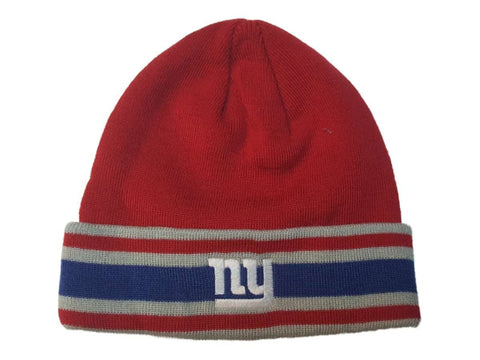 Shop New York Giants Reebok Red Striped Acrylic Knit Cuffed Skull Beanie Hat Cap