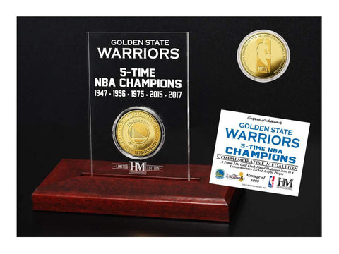 Shop Golden State Warriors 5-Time NBA Finals Champions Gold Coin Etched Desk Arcylic - Sporting Up