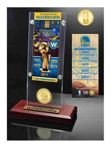Shop Golden State Warriors 5-Time NBA Finals Champs Ticket & Bronze Coin Desk Arcylic - Sporting Up