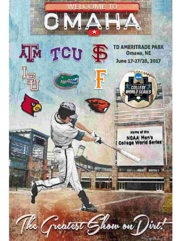 Shop 2017 NCAA College World Series CWS Official Final 8 Team Baseball Print Poster - Sporting Up